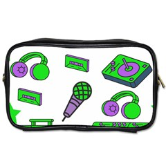 Green Music Pattern Toiletries Bags by TheLimeGreenFlamingo