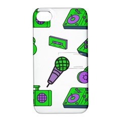 Green Music Pattern Apple Iphone 4/4s Hardshell Case With Stand by TheLimeGreenFlamingo