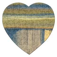 Denim Blue And Buttercream Jigsaw Puzzle (heart) by digitaldivadesigns