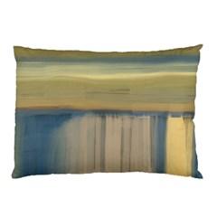 Denim Blue And Buttercream Pillow Case by digitaldivadesigns