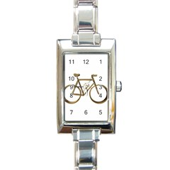 Elegant Gold Look Bicycle Cycling  Rectangle Italian Charm Watch by yoursparklingshop
