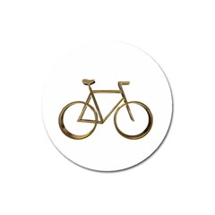 Elegant Gold Look Bicycle Cycling  Magnet 3  (round) by yoursparklingshop