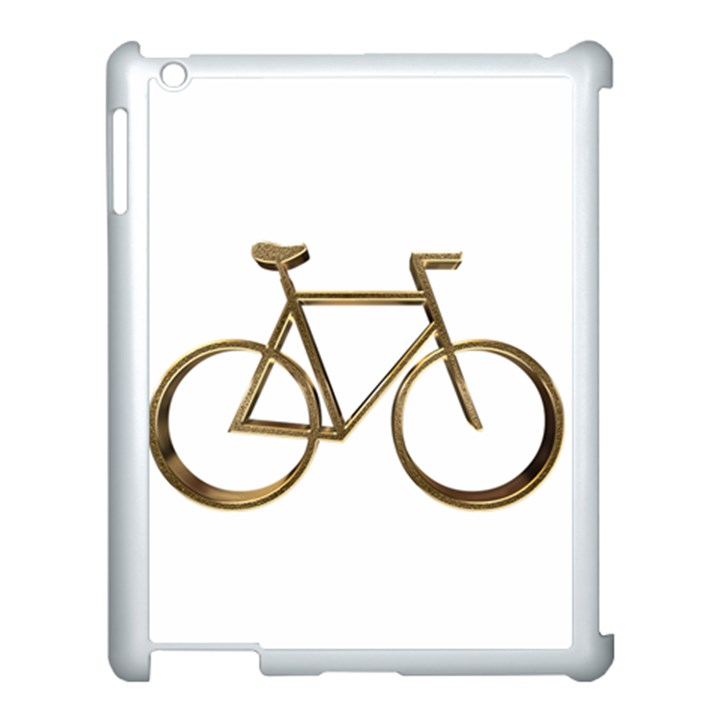 Elegant Gold Look Bicycle Cycling  Apple iPad 3/4 Case (White)