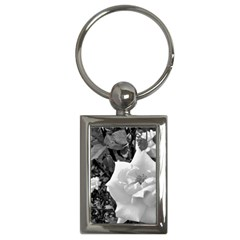 White Rose Black Back Ground Greenery ! Key Chains (rectangle)  by CreatedByMeVictoriaB