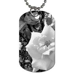 White Rose Black Back Ground Greenery ! Dog Tag (two Sides) by CreatedByMeVictoriaB