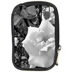 White Rose Black Back Ground Greenery ! Compact Camera Cases by CreatedByMeVictoriaB