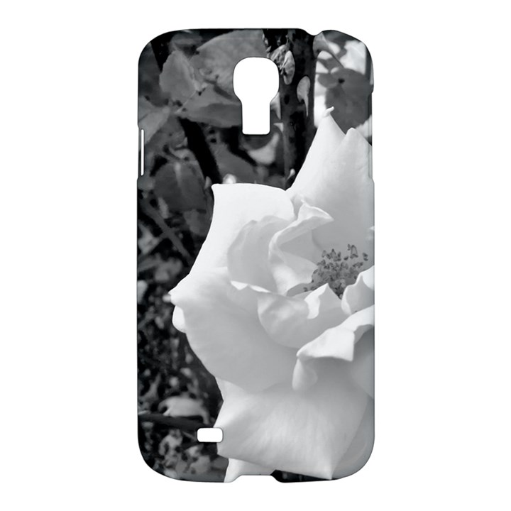 white rose black back ground greenery ! Samsung Galaxy S4 I9500/I9505 Hardshell Case