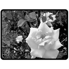 White Rose Black Back Ground Greenery ! Double Sided Fleece Blanket (large)  by CreatedByMeVictoriaB