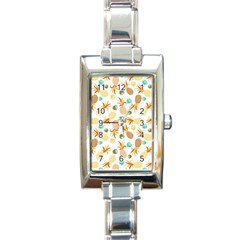 Seamless Summer Fruits Pattern Rectangle Italian Charm Watch by TastefulDesigns