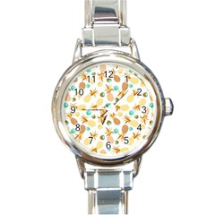 Seamless Summer Fruits Pattern Round Italian Charm Watch by TastefulDesigns