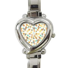 Seamless Summer Fruits Pattern Heart Italian Charm Watch by TastefulDesigns