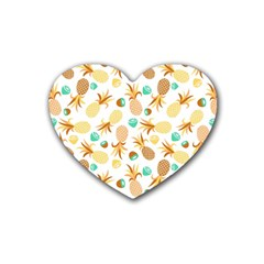 Seamless Summer Fruits Pattern Heart Coaster (4 Pack)  by TastefulDesigns
