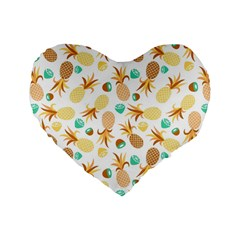 Seamless Summer Fruits Pattern Standard 16  Premium Flano Heart Shape Cushions by TastefulDesigns