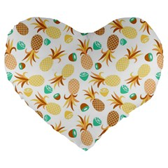 Seamless Summer Fruits Pattern Large 19  Premium Flano Heart Shape Cushions by TastefulDesigns