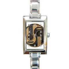 Old And Worn Acoustic Guitars Yin Yang Rectangle Italian Charm Watch by JeffBartels