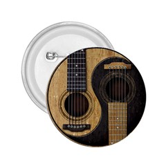 Old And Worn Acoustic Guitars Yin Yang 2 25  Buttons by JeffBartels