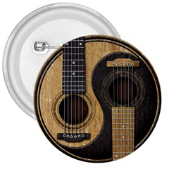 Old And Worn Acoustic Guitars Yin Yang 3  Buttons by JeffBartels