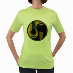 Old And Worn Acoustic Guitars Yin Yang Women s Green T Shirt by JeffBartels