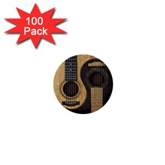 Old And Worn Acoustic Guitars Yin Yang 1  Mini Buttons (100 Pack)  by JeffBartels
