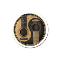 Old And Worn Acoustic Guitars Yin Yang Magnet 3  (round) by JeffBartels