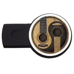 Old And Worn Acoustic Guitars Yin Yang Usb Flash Drive Round (2 Gb) by JeffBartels