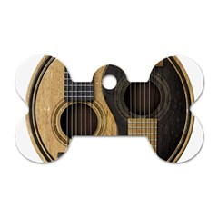 Old And Worn Acoustic Guitars Yin Yang Dog Tag Bone (two Sides) by JeffBartels