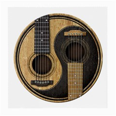 Old And Worn Acoustic Guitars Yin Yang Medium Glasses Cloth by JeffBartels
