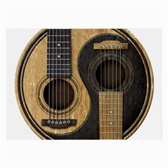 Old And Worn Acoustic Guitars Yin Yang Large Glasses Cloth by JeffBartels