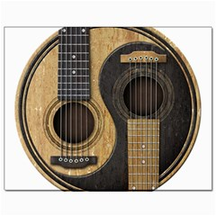 Old And Worn Acoustic Guitars Yin Yang Canvas 11  X 14   by JeffBartels