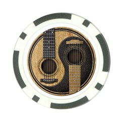 Old And Worn Acoustic Guitars Yin Yang Poker Chip Card Guard by JeffBartels