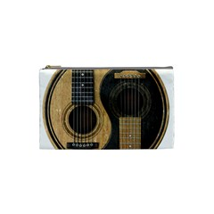 Old And Worn Acoustic Guitars Yin Yang Cosmetic Bag (small)  by JeffBartels