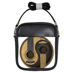 Old And Worn Acoustic Guitars Yin Yang Girls Sling Bags by JeffBartels