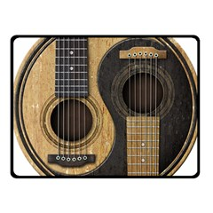 Old And Worn Acoustic Guitars Yin Yang Fleece Blanket (small) by JeffBartels