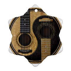 Old And Worn Acoustic Guitars Yin Yang Snowflake Ornament (two Sides) by JeffBartels
