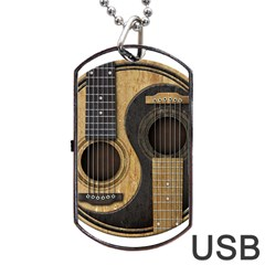 Old And Worn Acoustic Guitars Yin Yang Dog Tag Usb Flash (one Side) by JeffBartels