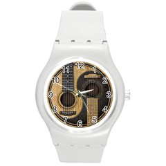Old And Worn Acoustic Guitars Yin Yang Round Plastic Sport Watch (m) by JeffBartels