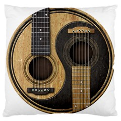 Old And Worn Acoustic Guitars Yin Yang Large Cushion Case (two Sides) by JeffBartels