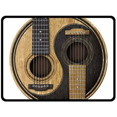 Old And Worn Acoustic Guitars Yin Yang Double Sided Fleece Blanket (large)  by JeffBartels