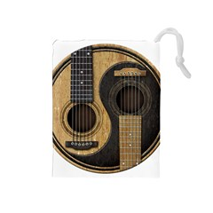 Old And Worn Acoustic Guitars Yin Yang Drawstring Pouches (medium)  by JeffBartels
