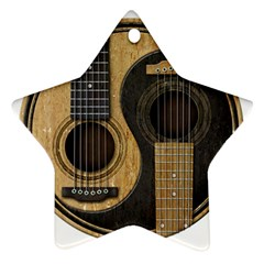 Old And Worn Acoustic Guitars Yin Yang Ornament (star) by JeffBartels