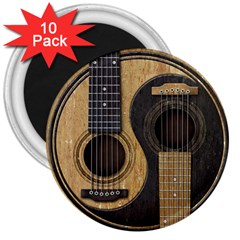 Old And Worn Acoustic Guitars Yin Yang 3  Magnets (10 Pack)  by JeffBartels