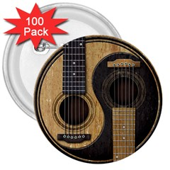 Old And Worn Acoustic Guitars Yin Yang 3  Buttons (100 Pack)  by JeffBartels