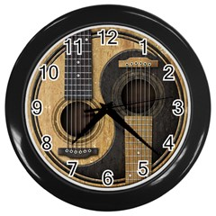 Old And Worn Acoustic Guitars Yin Yang Wall Clocks (black) by JeffBartels