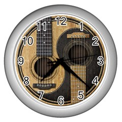 Old And Worn Acoustic Guitars Yin Yang Wall Clocks (silver)  by JeffBartels