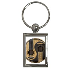 Old And Worn Acoustic Guitars Yin Yang Key Chains (rectangle)  by JeffBartels