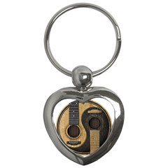 Old And Worn Acoustic Guitars Yin Yang Key Chains (heart)  by JeffBartels