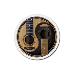 Old And Worn Acoustic Guitars Yin Yang Rubber Round Coaster (4 Pack)  by JeffBartels