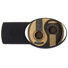 Old And Worn Acoustic Guitars Yin Yang Usb Flash Drive Oval (2 Gb) by JeffBartels