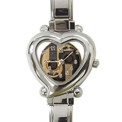 Old And Worn Acoustic Guitars Yin Yang Heart Italian Charm Watch by JeffBartels