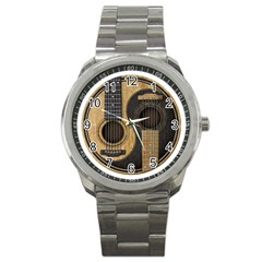 Old And Worn Acoustic Guitars Yin Yang Sport Metal Watch by JeffBartels